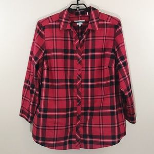 Foxcroft Sz 24W Buffalo Plaid Button Down Top